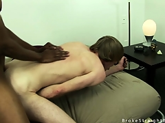 Cute blonde twink gets his irritant fishy wide of a big black cock