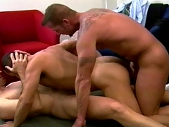 Muscular merry fuckers set a wild threesome