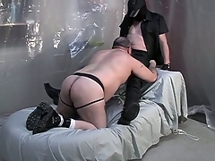 Fat dude on his knees together with giving a blowjob