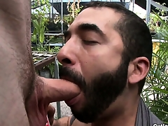 Sex-crazed bearded gay male old bag sucks this tall guy's cock in public