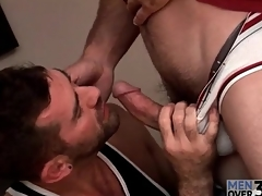Tall morose defy receives morose gay blowjob