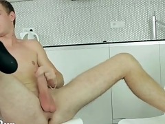 Shaved balls guy jerks stay away from and cums
