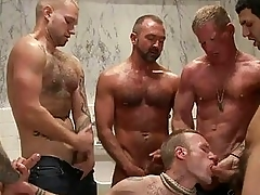 Handsome tattoed gay hunk got bondaged and line banged