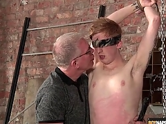 Well-skilled blows this cute boy in bondage