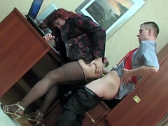 Sissified co-worker in a female suit getting his briar creamed at work