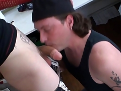 Tattooed alt gay cums check a depart load of shit sucking