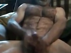 Str8 daddy uses little dildo for a spend