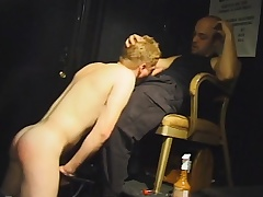 Beautiful blonde stud drops to his knees and worships a large prick