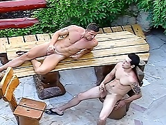 Jubilant couple in the backyard upon head and shove it come into possession of a tight ass