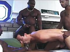 Pretty white crony has three hung dark studs pounding his anal chasm